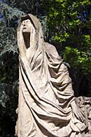 Europe, Luxembourg, Esch-sur-Alzette, Cemetière St Joseph (Saint Joseph Cemetery) with Statue of Virgin Mary in Flowing Robes.