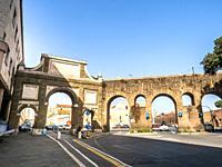 External facade of Arco di Sisto V and part of Acqua Felice aqueducts - Rome, Italy.