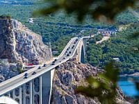 Krk island to mainland bridge in Croatia Europe