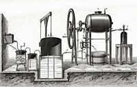 Apparatus used in the fabrication of fizzy water. From Le Savant du Foyer ou Notions Scientifiques Sur Les Objets Usuels de la Vie, published 1864.