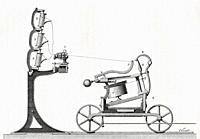 The spinning mule, a machine used to spin cotton and other fibres. From Le Savant du Foyer ou Notions Scientifiques Sur Les Objets Usuels de la Vie, p...