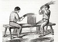 Workers shredding flax, 19th century. From Le Savant du Foyer ou Notions Scientifiques Sur Les Objets Usuels de la Vie, published 1864.