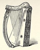 The Trinity College harp, also known as Brian Borus Harp, is medieval Irish harp or wire strung clairseach, Ireland, United kingdom. Old 19th century ...