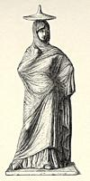 Tanagra woman with quinton, cloak and hat. Ancient Greece, Europe. Old 19th century engraved illustration from El Mundo Ilustrado 1880.