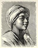 Portrait of a young Egyptian boy who leads donkeys, Egypt, North Africa. Old 19th century engraved illustration from El Mundo Ilustrado 1880.