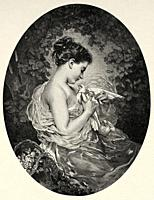 Portrait of a beautiful young woman with a pigeon. Old 19th century engraved illustration from El Mundo Ilustrado 1880.