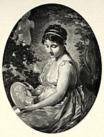 Portrait of a beautiful young woman in love watching the portrait of her love, being watched by cupid. Old 19th century engraved illustration from El ...