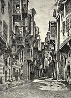 Old street of the Coptic Christians in Cairo, Egypt, North Africa. Old 19th century engraved illustration from El Mundo Ilustrado 1880.