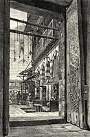 Door of the Alley of Sukkarije. Citadel of Cairo, Egypt, North Africa. Old 19th century engraved illustration from El Mundo Ilustrado 1880.