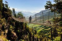 Bisse du Torrent Neuf or Bisse de Savièse - Cliffside walk and suspension bridge, Bisses, only found in the Valais region of Swtizerland, are irrigati...