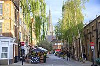 Venn Street Pedestrianised Strip of Restaurants in Clapham, London UK.