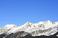 Peaks in the Pyrenees, Tena Valley, Huesca Province, Aragon in Spain.