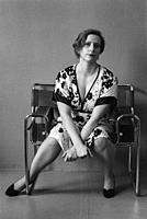 Tilburg, Netherlands. Studio Portrait of an adult, caucasian woman in black and white. Studio Shot on Analog Black & White Film.