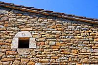 window of Can Camós, traditional Catalan farmhouse, Banyoles, Girona, Catalonia, Spain