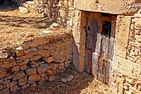 old door of the stables, Can Camós, traditional Catalan farmhouse, Banyoles, Girona, Catalonia, Spain