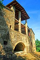 facade under restoration, Can Camós, old traditional Catalan farmhouse, Banyoles, Girona, Catalonia, Spain
