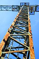 construction crane, Banyoles, Girona, Catalonia, Spain