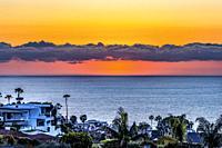 Buildings Lights Watching Sunset Sundown La Jolla Heights Overlook Pink Skies Clouds Pacific Ocean San Diego California.