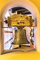 Old Bronze Bell Mission San Diego de Alcala California. Founded in 1769 by Junipero Serra, first mission in California.
