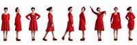 various poses of same woman with red dressed on white background.