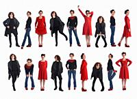 large group of same woman with different outfits on white background.