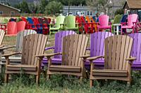 Poncha Springs, Colorado - Colorful adirondack chairs on sale at Salida Stove and Spa.