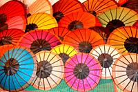 Sun shades on market, Luang Prabang, Laos, Asia