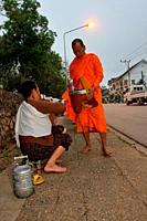 Local People Offering Food at Alms, Luang Prabang, Laos.