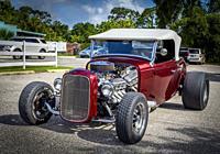 American custom hot rod cars at the Cruisin' on Dearborn Street car show in Englewood Florida USA.