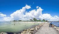 Nokomis Beach on the Gulf of Mexico from the north jetty in Nokomis Florida USA.