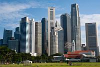 Singapore, Republic of Singapore, Asia - Cityscape with skyline of the central business district and the skyscrapers around Raffles Place during the l...