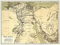 Map of Lower Egypt, North Africa. Old 19th century Color lithography illustration from El Mundo Ilustrado 1879.