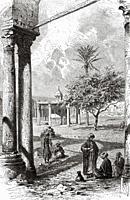 Mosque of Sultan al-Ashraf Inal. Mamluk period, Great Cemetery. Qarafa al Kubra, Cairo, Egypt, North Africa. Old 19th century engraved illustration fr...