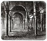 The prayer room with pillars, Mosque of Sultan al-Ashraf Inal. Mamluk period, Great Cemetery. Qarafa al Kubra, Cairo, Egypt, North Africa. Old 19th ce...