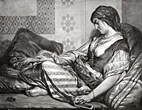 The wife of the Sultan of Egypt, North Africa. Old 19th century engraved illustration from El Mundo Ilustrado 1879.