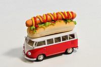 Creative Vintage Food Truck Van Toy Miniature with Hot Dog.