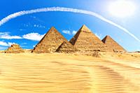The Great Pyramids of Giza in the desert, Egypt.