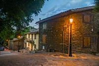 Street, night view. La Hiruela, Madrid province, Spain.