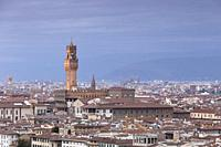 View from Piazzale Michelangelo with Palazzo Vecchio, Florence, Italy.