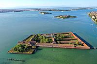 Aerial view of Lazzaretto Vecchio island, Venice Lagoon, Venice, Italy, Europe.