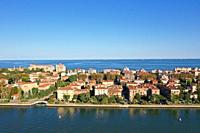 Aerial view of Venice Lido island, Venice Lagoon, Venice, Italy, Europe.