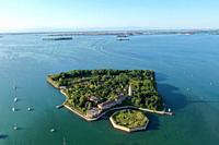 Aerial view of Poveglia island, Venice Lagoon, Venice, Italy, Europe.