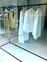 White shirts in a shop window. Madrid, Spain.