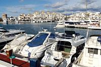 Puerto Banús (Marbella) Malaga. Motorboats docked in Puerto Banús in the city of Marbella.