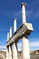 Pompeii (Italy). Columns in the excavations of the ancient city of Pompeii.
