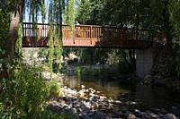 Ambroz River recreation area of Abadia. Senior tourism in Extremadura, Spain.