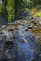 Ambroz River running beside Abadia Village. Caceres, Extremadura, Spain.