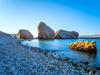 Early morning light Beritnica beach near Metajna on Pag island in Croatia Europe
