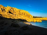 Late afternoon on Beritnica beach near Metajna on Pag island in Croatia Europe