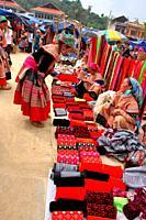 Flower Hmong Women at Bac Ha Market near Sapa Vietnam, Vietnam
